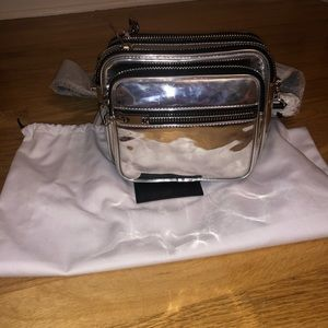 ALEXANDER WANG ATTICA SILVER SHOULDER BAG